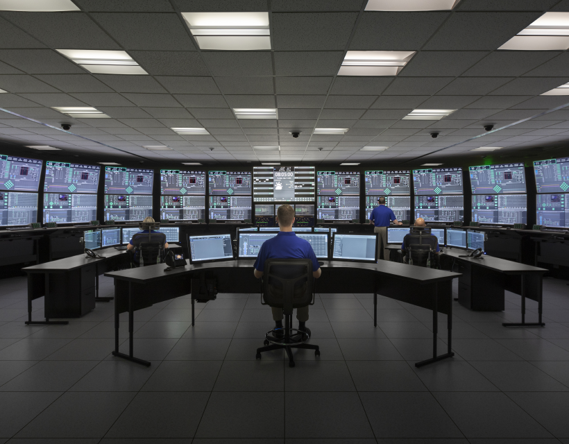 NuScale employees working in simulator room